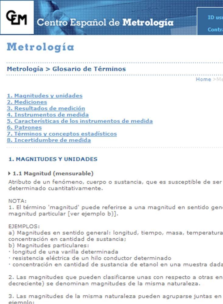 glosario del centro espanol de metrologia