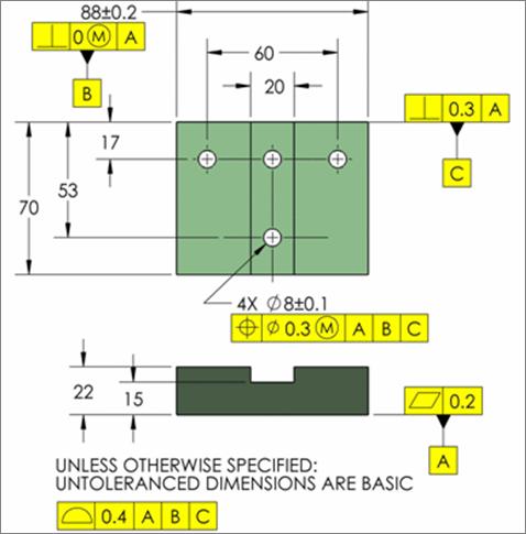 plano 2D con tolerancias e isostatismos