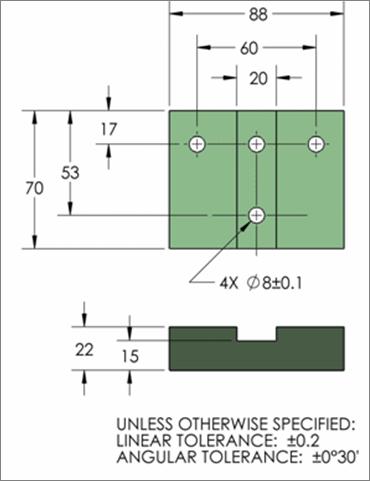 plano 2D sin tolerancias ni isostatismos